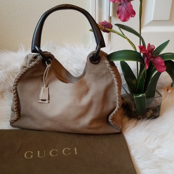 33255e325efb Gucci Bags | Cco Wooden Handle Suede | Poshmark